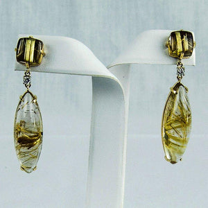 Rutilated Quartz Diamond Gold Statement Earrings