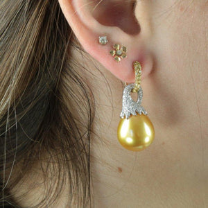 South Sea White and Golden Pearl Diamond Gold Statement Earrings