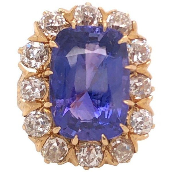 Victorian 15Carat NO HEAT Cushion Sapphire Diamond Gold Ring Estate Fine Jewelry