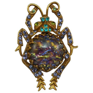 Vintage Askew London Glass Fire Opal Amethyst Scarab Bug Estate Brooch Pin