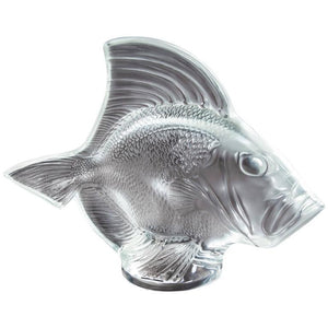 Lalique France Gros Poisson Vagues Large Fish Glass Sculpture