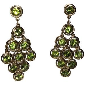 21.5 Carat Peridot Chandelier Gold Statement Drop Earrings Estate Fine Jewelry