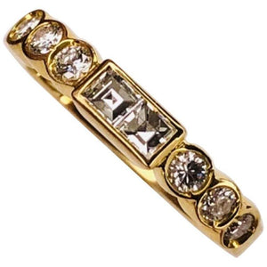 Vintage Diamond Eternity 18 Karat Gold Band Ring Fine Estate Jewelry