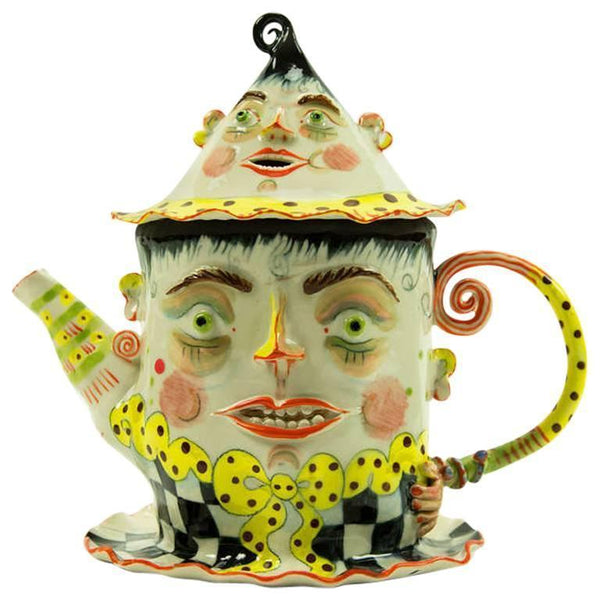 Rare Large Figural Porcelain Teapot on Attached Plate by Irina Zaytceva