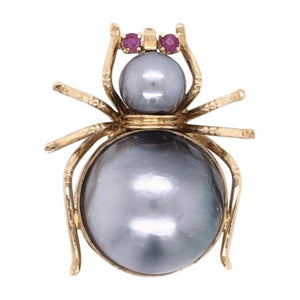 Vintage Large Pearl & Ruby Gold Spider Brooch Pin Pendant Fine Estate Jewelry