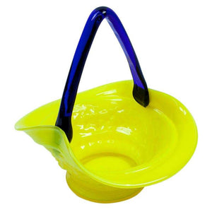Yellow and Blue Artisan Glass Basket, circa 1950s