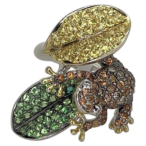 Vintage Multi-Color Sapphire Diamond Gold Frog on Leaf Ring Estate Fine Jewelry