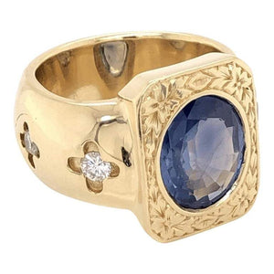 Mid-Century Modern 4 Carat Blue Sapphire Diamond Gold Ring Estate Fine Jewelry