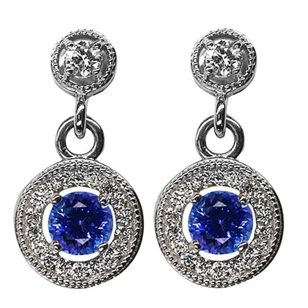 1.45 Carat Tanzanite & Diamond Drop Gold Statement Earrings Estate Fine Jewelry