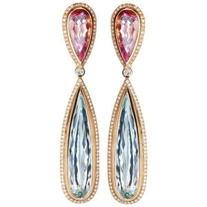 Aquamarine Morganite Diamond Drop Gold Statement Earrings Estate Fine Jewelry