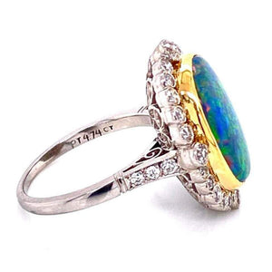 4.74 Carat Black Opal and Diamond Platinum Cocktail Ring Estate Fine Jewelry