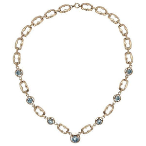 Retro 12 Carat Blue Zircon Gemstone Gold Necklace Fine Estate Jewelry