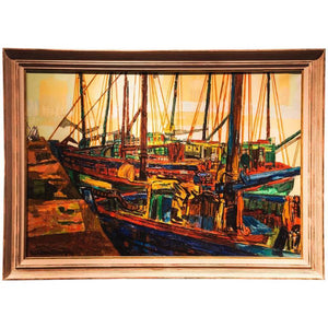 "Charles Tcherniawsky ""Marine"" Oil Painting Breton Fishing Port"