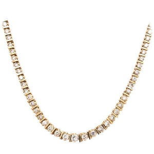7.00 Carat Diamond Riviera White Gold Line Necklace Estate Fine Jewelry