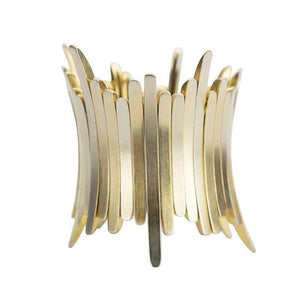 Striking Sculptural Bar Link  Silver Stretch Cuff Bracelet