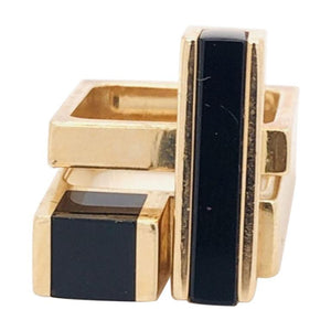 Vintage Pair Square Stacking Bands Gold and Onyx Inlay Rings Estate Fine Jewelry