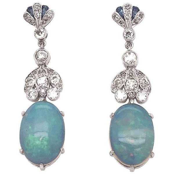 7.40 Carat White Opal and Diamond Drop Gold Earrings Estate Fine Jewelry