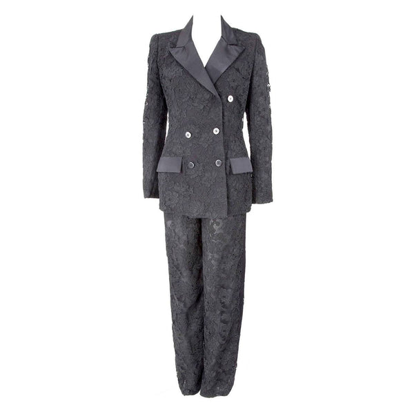 Bill Blass Black Alençon Lace and Satin Cocktail Tuxedo Suit Jacket and Pants