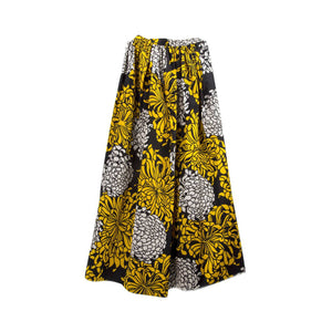 Stunning Adolfo Gold Black and Silver Pleated Floral Silk Long Skirt