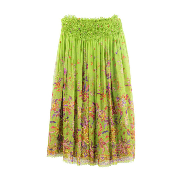 Stunning Oscar de la Renta Embroidered Long Floral Pleated Silk Skirt