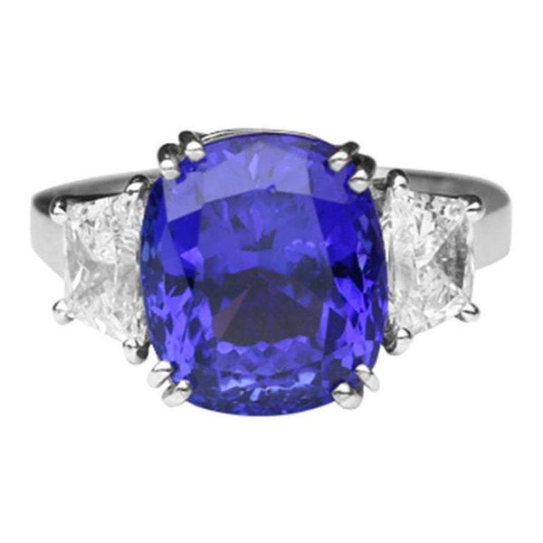 6.60 Carat Tanzanite Cushion and Diamond Platinum Engagement Ring