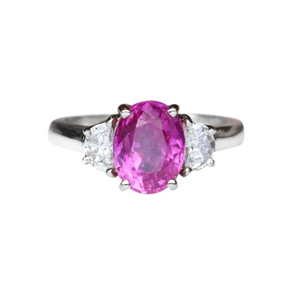 2.85 Carat Pink Sapphire and Diamond Platinum Cocktail Engagement Ring