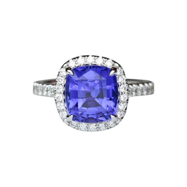 3.72 Carat Tanzanite Cushion and Diamond Platinum Engagement Ring
