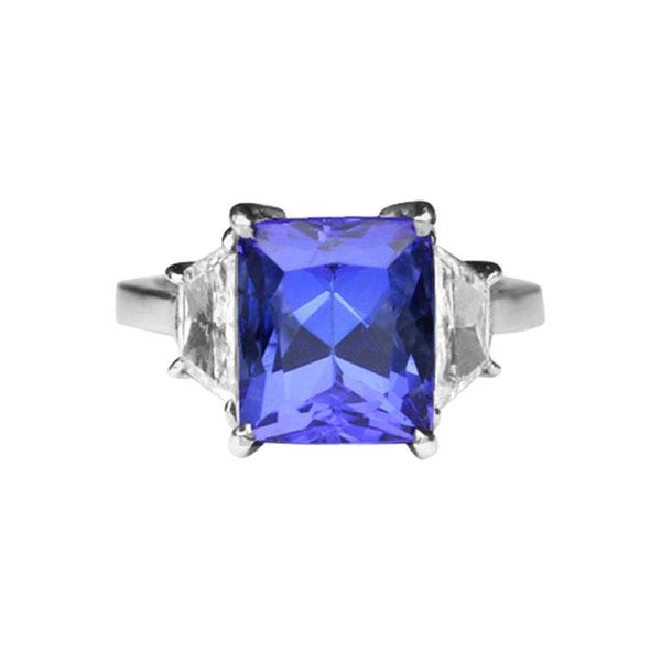 5.73 Carat Tanzanite Cushion and Diamond Platinum Engagement Ring