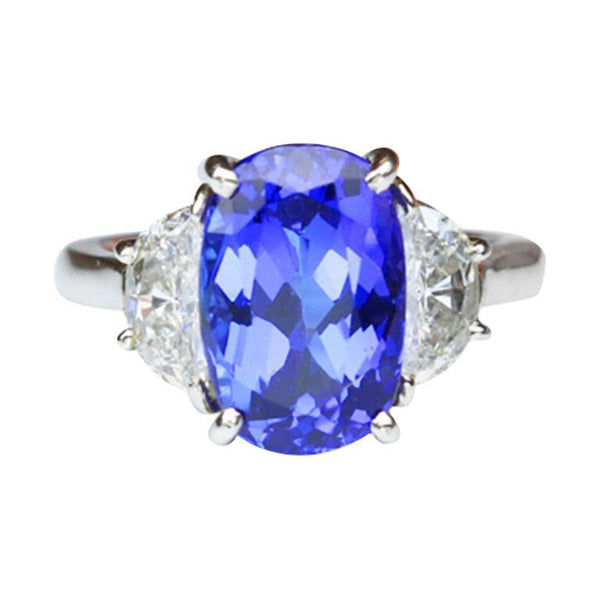 4.74 Carat Tanzanite and Diamond Platinum Engagement Ring Fine Estate Jewelry