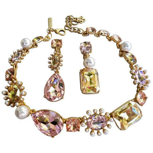 Oscar De La Renta Faux Pearls and Pink Crystals Runway Necklace and Earrings Set