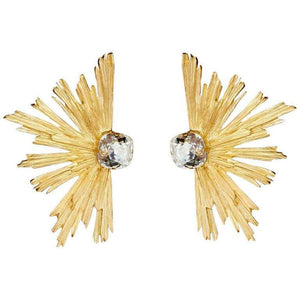 YVES SAINT LAURENT PARIS YSL Burst Crystal Clip Earrings