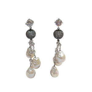 Striking CZ Sterling Baroque Pearl Drops Tassel Silver Dangle Earrings