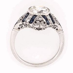 Art Deco Style 1.52 Carat Diamond Platinum Engagement Ring Estate Fine Jewelry