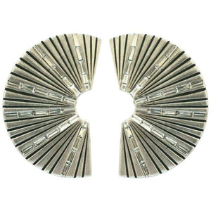 SAINT LAURENT PARIS YSL Baguette Crystal Fan Design Clip Earrings Estate Find