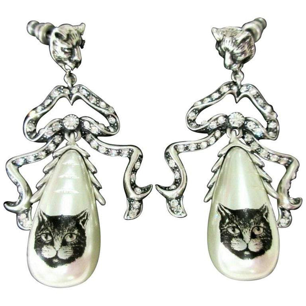 Gucci Signed Cat Panther Head Faux Pearl Bow Runway Drop Earrings Estate Jewelry