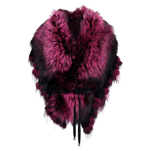 Luxurious Oversized Fuchsia Fox Fringe Fur Statement Stole Wrap