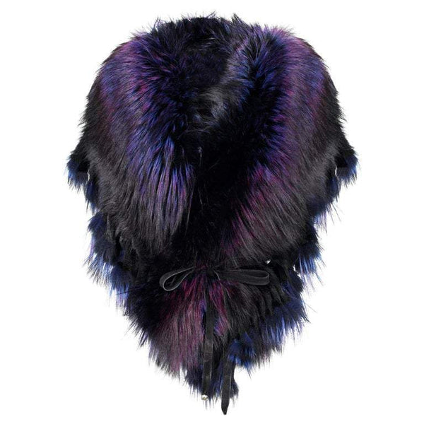 "Luxurious Oversized ""Purple Rain"" Fox Fringe Fur Statement Stole Wrap"