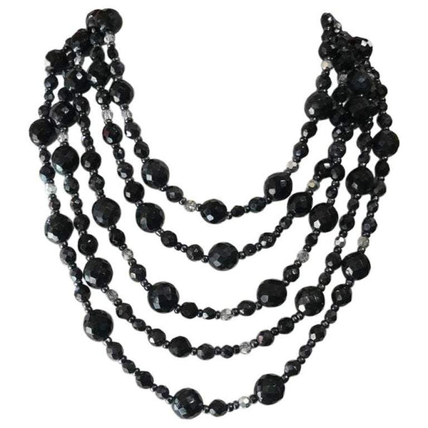 Vintage R.J. Graziano Multi-Strand Black Glass Bead Bib Necklace