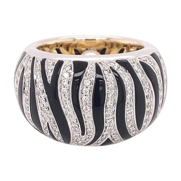 Roberto Coin Diamond and Enamel Gold Ring Fine Estate Jewelry