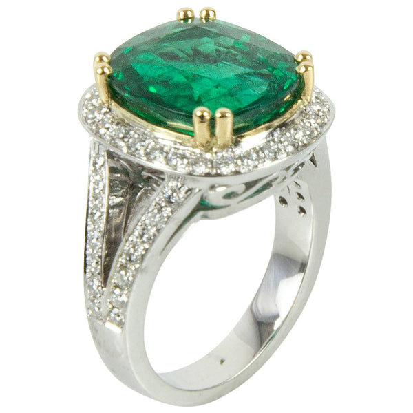 7.90 Carat Cushion Cut Emerald Diamond Gold Engagement Ring