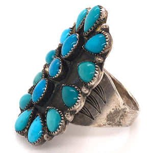 Native American Navajo Turquoise 925 Sterling Silver Ring Estate Fine Jewelry