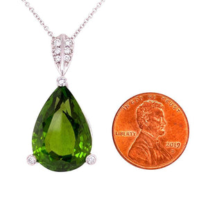 21 Carat Peridot and Diamond Platinum Pendant Necklace Estate Fine Jewelry