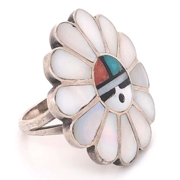 Vintage Native American HOPI Inlay Headdress 925 Silver Ring Estate Fine Jewelry