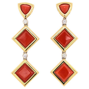 Deep Red Coral and Diamond Dangle Earrings Estate Fine Jewelry