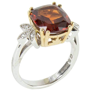 5.84 Carat Cushion Cut Spessartite Garnet Diamond Gold Ring