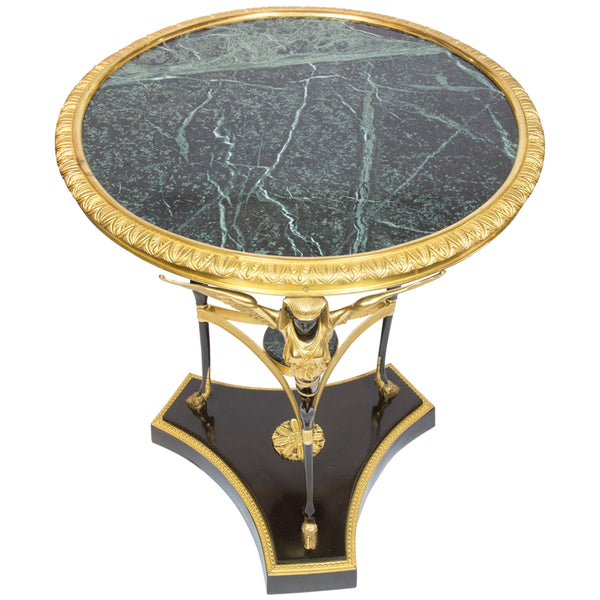 Egyptian Revival French Empire Style Gueridon Etagere Marble Top Table