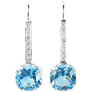 Cushion Cut Blue Topaz Diamond Gold Drop Earrings