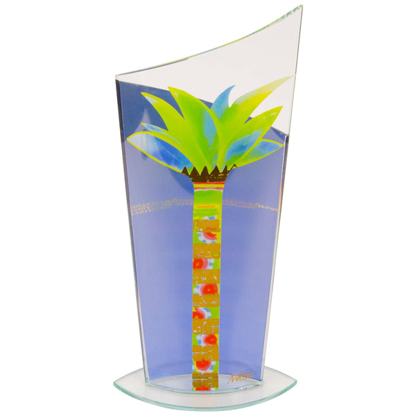 Mid-Century Modern Glass Handkerchief Vase Hand-Painted Palm Tree Design