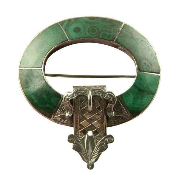 Antique Victorian Large Silver Scottish Agate Malachite Brooch Pin c1890