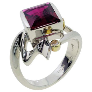 2.00 Rubelite Tourmaline and Diamond S/S Gold Cocktail Ring Fine Estate Jewelry